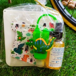 Pack dino: mascarilla, caja...