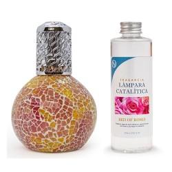 lámpara catalítica y fragancia de rosas
