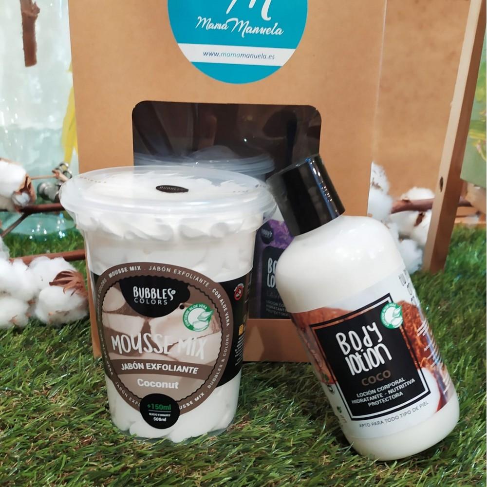 Jabón exfoliante y loción corporal aroma coco