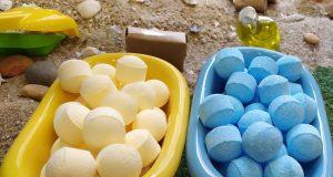 Bombas y bolas aromáticas para uso en bañera.